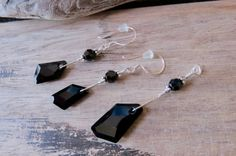 Silver Earring Pendant Set made with Black Swarovski Crystals and Sterling Silver OOAK design CreativeWorkStudios Black Rectangle, Rectangle Shape, Silver Earrings, Drop Earrings, Bubble Envelopes, Pendant Set, Swarovski Crystals, Sterling Silver, Chain