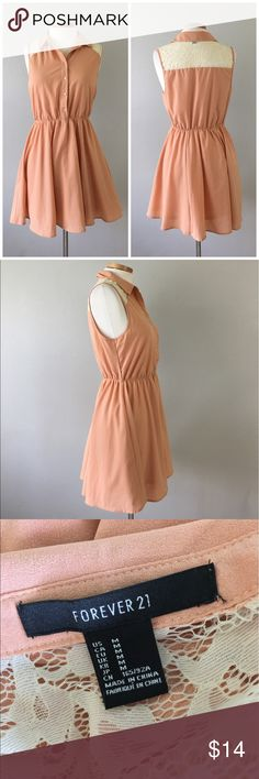 Forever 21 Peach Lace Back Button Up Dress Forever 21 Peach Lace Back Button Up Dress. Size medium with stretch around the waist. Dress slightly above the knee in length.  Thank you for looking at my listing. Please feel free to comment with any questions (no trades/modeling).  •Condition: EUC, no visible flaws.   ✨Bundle and save!✨10% off 2 items, 20% off 3 items & 30% off 5+ items! JB Forever 21 Dresses Mini