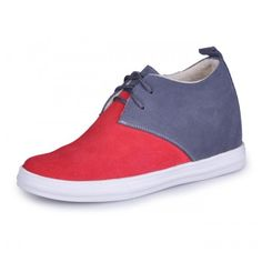 Men Casual Shoes - Red / Grey casual men's elevator shoes get taller height 7cm / 2.75inches with the SKU: MENJGL_9091I_2 at Tooutshoes online store