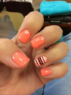Aztech nails nail art design manicure shellac cute designs for Manicure Gel, Shellac Nails, Diy Nails, Coral Gel Nails, Shellac Manicure, Nail Polish, Nail Art Designs, Shellac Nail Designs, Nails Design