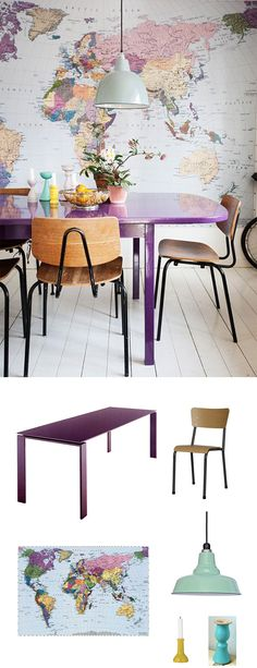 A purple table presents an unexpected twist to the dining room, one that's funky and totally in league with that gorgeous wall behind it. #colorfridays