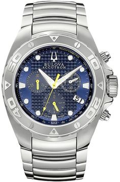 Bulova Accutron 63B144 Mens Bulova Accutron Curacao In Blue with Dial. For every wearing occasion from sport to casual professional to dress Bulovas signature brand delivers exceptional design and style enhanced by technology. Paced by its exquisitely crafted diamond watches meticulously engineered self-winding mechanicals and the innovative architectural lines within the high-performance Marine Star collection Bulovas diverse selection encompasses classic and contemporary styling and...