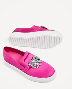 ZARA - WOMAN - BEJEWELLED SATIN PLIMSOLLS