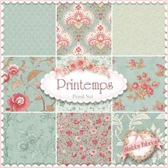 3 Sisters for Moda: Printemps Collection in Pond | Shabby Chic quilting fabric
