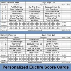 Person Euchre Rotation Printable Score Sheet  Score Card