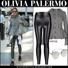 Olivia Palermo in grey peplum jacket, black leggings and purple sneakers. street fashion