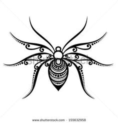 Vector Beautiful Spider, Exotic Insect. Patterned design, Tattoo