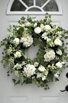 Floral Wreath Inspiration - - Welcome to the June 2019 showcase of beautiful wreaths and centerpieces! These stunning creations were made by designers in the Trendy Tree Marketing. White Wreath, Diy Wreath, Wreath Fall, Burlap Wreaths, Yarn Wreaths, Tulle Wreath, Mesh Wreaths, Wreaths And Garlands, Green Wreath