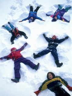 Lay down in the snow, move your arms and legs back and forth. Snow angels!  Photographic print by Kent Dufalt