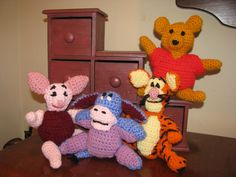Piglet, Eeyore, Tigger, and Pooh Eeyore, Tigger, Dinosaur Stuffed Animal, Toys, Crochet, Disney, Animals, Activity Toys, Animaux