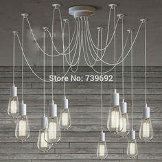 64.80$  Watch now - http://ali6jn.worldwells.pw/go.php?t=32614052638 - LOFT modern White Lustre chandeliers 6-10 arms Retro Adjustable Edison Bulb DIY E27 Art Spider Lamp luminaire Fixture 64.80$