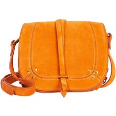 Jerome Dreyfuss Victor Saddle Bag (910 ILS) ❤ liked on Polyvore featuring bags, handbags, shoulder bags, crossbody purses, orange cross body purse, jerome dreyfuss handbags, suede handbags and suede shoulder bag