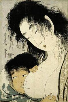 "Art Inconnu - Little-known and under-appreciated art.: ""Yamauba and Kintaro"" by Utamaro Kitagawa (1753-1806)"