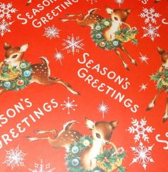 VTG CHRISTMAS WRAPPING PAPER GIFT WRAP MID CENTURY SEASONS GREETINGS REINDEER