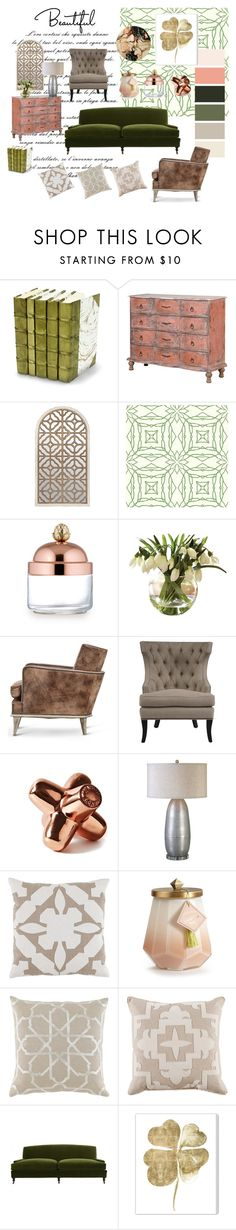 """""""Green Sofa - Green Decor"""" by designed-4-life ❤ liked on Polyvore featuring interior, interiors, interior design, home, home decor, interior decorating, Decorative Leather Books, York Wallcoverings, Ruffoni and Tom Dixon"""