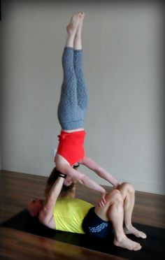Shoulderstand from our AcroYoga for beginners class.