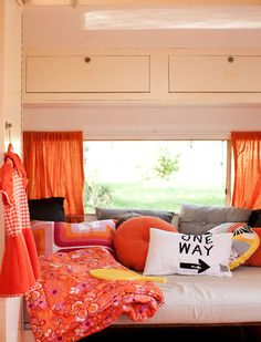 cool retro orange caravan