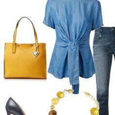 Abbigliamento comodo, casual che si accende con i colori accesi degli accessori. Jeans fit, slavato, con blusa che sottolinea il punto vita con la fusciacca e si slancia con il tacco in tinta.