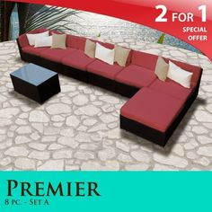 189e7f5122c Premier Outdoor Wicker 8 Piece Patio Set Henna Spice Covers -08A by TK  Classics.