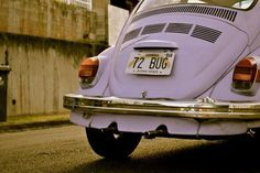 A pale purple VW bug