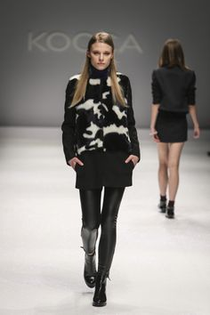 Fur coat and fake leather leggins for a rock look from the 2014 15 FW dfb811c0c89