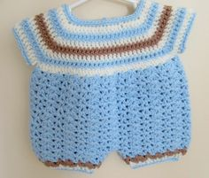 This is a very sweet baby boy romper and hat set, in blue, brown and white. Would make a lovely handmade baby gift.  The romper has an 18 finished chest. The matching has a 13 circumference. For baby 3-6 months.  This wonderful outfit is available and will ship within one business day of your order. If this is a gift item, please see my section for handmade gift cards:  https://www.etsy.com/shop/TheComfyBaby?section_id=17298480&ref=shopsection_leftnav_9  Please let me know if I can be of…