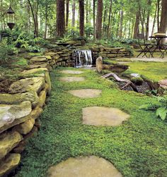 Ahhh...serene. Moss as a ground cover, to revive the bare spots in your lawn (saves water, too!). Going to try this under large pecan trees in my backyard where the grass tends to be patchy.  And don't you just love the rock accents? Happiness!