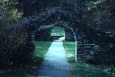 Stock Photo of  spring mill state park indiana trail through arches