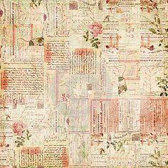 Tapiz de periodico antiguo con flores rosadas.
