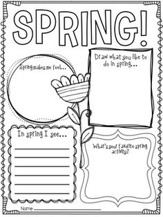 7 Best Images of Spring Printable Activity Worksheet - Free Printable Spring Worksheets, Spring Kindergarten Worksheets and Spring Writing Activity 1st Grade Writing, Kindergarten Writing, Teaching Writing, Writing Prompts, Literacy, Writing Worksheets, Writing Activities, Classroom Activities, Kindergarten Activities