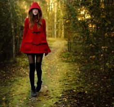 Ebba Zingmark - red riding hood coat and socks over tights with boots