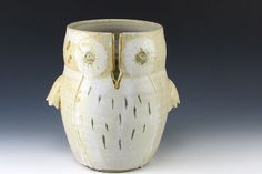 Fall White Owl Yarn Holder by Littlepigpottery on Etsy