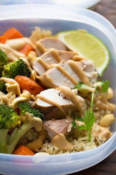 Peanut Lime Chicken Lunch Bowls, an easy make-ahead lunch recipe that you can grab on your way out the door!  Gluten-free