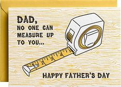Letterpress Measuring Tape Father's Day Card. Designed by Kelly Maron Horvath for Paper Source