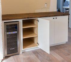 DIY bar with wine fridge. Ikea hack.                                                                                                                                                     More