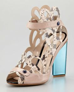 Nicholas Kirkwood Scalloped Snakeskin Sandals
