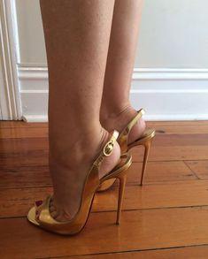 Delicious female feet — nylon and short nails Hot Heels, Sexy High Heels, Sexy Legs And Heels, Beautiful High Heels, Dress And Heels, Pantyhose Heels, Stockings Heels, Stilettos, Sexy Zehen