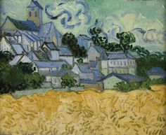 RISD Museum: Vincent van Gogh, Dutch, 1853-1890. View of Auvers-sur-Oise, 1890. Oil on canvas. 34 x 42.1 cm (13 3/8 x 16 9/16 inches). Given in memory of Dorothy Sturges by a friend 35.770