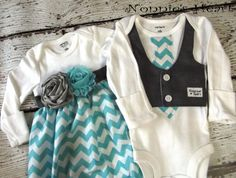 Listing is for boy-girl twin set in aqua chevron. The girls one piece is made into a sack dress for the newborn to 3 months and a dress for the