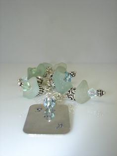 Aqua Blue Sea Glass & Sterling Silver Chunky Charm Bracelet by Shannon M. Russell at Shannon Down By The Sea