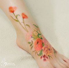 Colorful Flower Tattoos That Look Like Watercolor Paintings ...