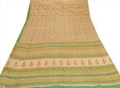 Sanskriti Vintage 100% Pure Cotton Saree Cream Printed Sari Dress Making Fabric #SanskritiVintage #Saree