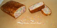 Rainbow Coconut Bread Recipe - Just four ingredients in this loaf that is a great snack for the kids and is so easy to make. Just add sprinkles and you have a rainbow treat that is great for the lunch box, afternoon tea or dessert! www.mybrownpaperpackages.com