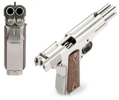 Another image of the AA 1911, showing the twin action. It loads from special twin-stack magazines.