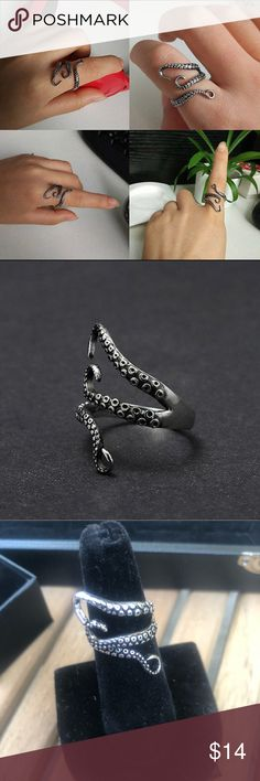 Stainless Steel Octopus 🐙 open ring!! So cute. Octopus stainless steel open ring. Jewelry Rings