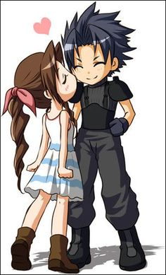 Zack and Aerith. Final Fantasy 7 Crisis Core O.O OFFICALLY THE MOST ADORABLE THING EVER!!!!!!!!!!