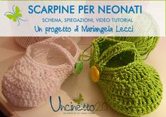 Scarpine a uncinetto per neonati di Mariangela Lecci - Video Tutorial Baby Knitting, Crochet Baby, Knit Crochet, Knit Baby Booties, Crochet Videos, Little Girl Dresses, Cool Baby Stuff, Knitted Hats, Crochet Earrings