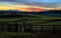 Blue Ridge Mountains farm & sunset