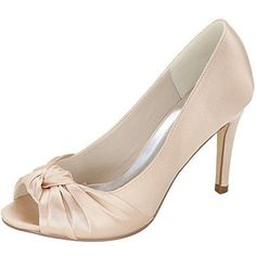 LOSLANDIFEN Womens Peep Toe Pumps Slip On Stiletto High Heels Wedding Shoes562321silk39Champagne -- You can get more details by clicking on the image.-It is an affiliate link to Amazon. #weddingshoes