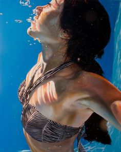 Artist: Eric Zener, photorealist, oil {hyperreal underwater bikini woman bubbles painting}